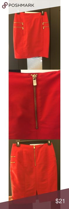 Cherry Red pencil skirt with gold zipper Fun pencil skirt for the office or dress it up for the holidays! It has gold zipper detailing on the sides and a functional gold zipper on the back. Size 4, like new condition. H&M Skirts Pencil