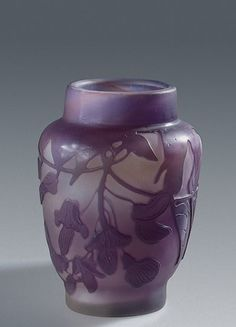 ❤ - Émile Gallé | Vase Decorated with a Twig of Wisteria. Manufactory of Emile Galle, France, Nancy. Between 1907 and 1914. Hermitage Museum.