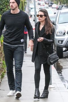 Lea Michele wearing Givenchy Pandora Bag, Current/Elliott Longline Peacoat, Ray-Ban Rb4105 Folding Wayfarer Sunglasses, Jimmy Choo Hutch Ankle Boots and L'Agence Margot High Rise Skinny Jeans in Noir