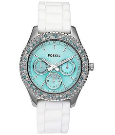 Fossil Watch: White and Tiffany Blue Stella Silicone