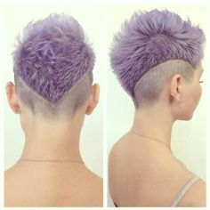 Purple shaved hairstyle for women