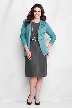 6b2a0b85eed8a Women s Long Sleeve Fine Gauge Cotton Corsage Cardigan from Lands  End  Corsage
