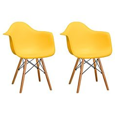Mod Made Paris Tower Arm Chair Wood Leg Yellow Set of 2 -- See this great product.Note:It is affiliate link to Amazon.