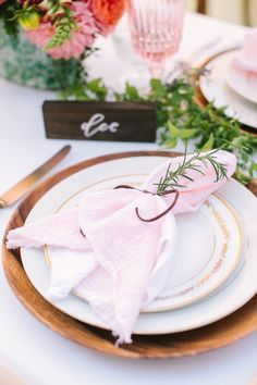 soft pink place setting - photo by Yasmin Sarai Photography http://ruffledblog.com/rose-inspired-bridal-shower