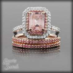 Pink Sapphire and Diamond Ring with Emerald Step Cut Sapphire
