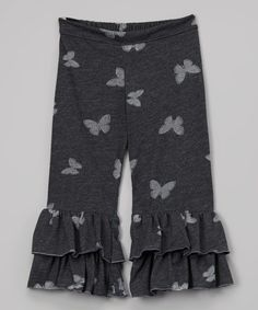 Loving this Gray Butterfly Ruffle Pants - Toddler & Girls on #zulily! #zulilyfinds