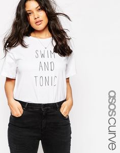 Image 1 of ASOS CURVE Boyfriend T-Shirt with Swim and Tonic Print