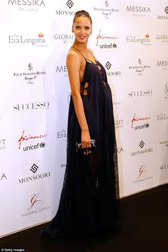 M&S model Noémie Lenoir braless in dress at Global Gift Gala in Paris | Daily Mail Online