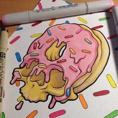 Copic marker art always looks so good! Trippy Drawings, Cool Art Drawings, Art Drawings Sketches, Psychedelic Drawings, Tattoo Drawings, Doodle Art Drawing, Graffiti Drawing, Graffiti Art, Marker Kunst