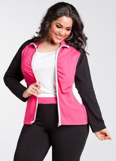 Plus Model: Nicole Zepeda,  Agency: MSA Models in New York City, Ashley Stewart Women's Colorblock Active Jacket