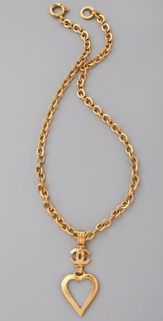 Vintage Chanel Heart gold-plated necklace.