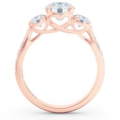 """Past - Present - Future"" Classic custom crafted Three-Stone Engagement Ring in Diamonds and Rose Gold. Bashert Jewelry Boca Raton Florida. Fine Custom Jewelry."