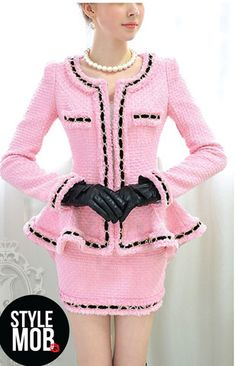 Pretty in pink Chanel insprining outfit low collar creates beautiful decolletage