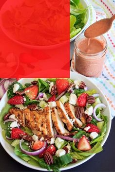 This berry chicken salad is a wonderful summertime meal! It's loaded with so many mouth watering flavors like garlicky grilled chicken, fresh spinach & crunchy romaine, sweet strawberries, red onion, crunchy nuts and feta cheese combine together for a burst of flavor and textures. The homemade strawberry basil vinaigrette brings it all together. Simple to make & a great way to use seasonal produce, like fresh strawberries and basil, for a perfect healthy dinner. [ad]  @nowfoods #now Easy Dinner Recipes, New Recipes, Kitchen Recipes, Drink Recipes, Easy Meals, Healthy Eating Recipes, Healthy Salads, Healthy Food, Chicken Salad