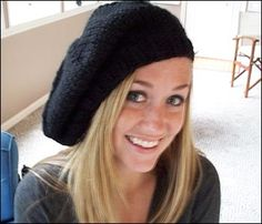 Super-simple fast and easy chunky hand-knit beret! (actually uses that licorice yarn)