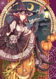 HAPPY HALLOWEEN~~★ anime art. . .witch girl. . .witch costume. . .lolita dress. ..ruffles. . .spiderweb lace. . .flowers. . .witch hat. . .broom. .. jack o lanterns. . .pumpkins. . .moon. . .night sky. . .cute. . .kawaii