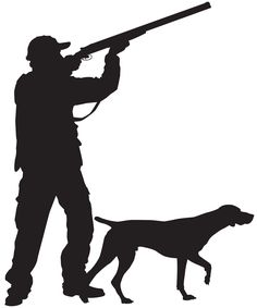 Hunter with Dog Silhouette PNG Clip Art Image