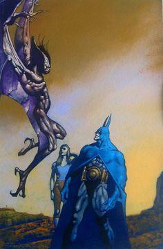 Manbat & Batman by John Bolton