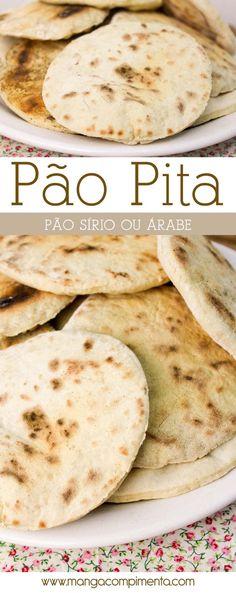 Receita de Pão Pita, também conhecido como Pão Sírio ou Árabe. #receita #comida #pão