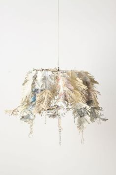 painted newspaper fringed chandelier