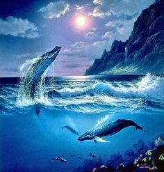 🌙ᙏơơຖ🌚ᙏმᎶἶᏝ🌙 A Whale of a Time ~ Anthony Casay Ocean Art, Ocean Waves, Cartoon Sea Animals, Ocean Wallpaper, Seascape Art, Whale Art, Nautical Art, Humpback Whale, Killer Whales