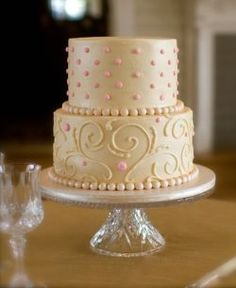 A simple, vintage cake design.  Use pale purple for icing and green instead of pink for piping.