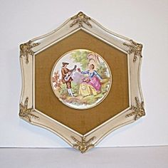 Fragonards Courting Couples Framed French Tile