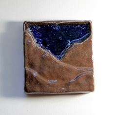 4 Mountain Sky Tile  Rustic Earth Royal Blue by corduroyclay, $22.00