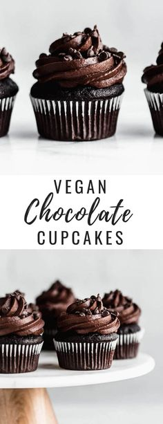 These vegan triple chocolate cupcakes are the BEST. They're easy to make and are topped off with a whipped chocolate frosting! These vegan triple chocolate cupcakes are the BEST. They're easy to make and are topped off with a whipped chocolate frosting! Whipped Chocolate Frosting, Cookies And Cream Frosting, Homemade Chocolate Cupcakes, Chocolate Topping, Chocolate Chocolate, Mocha Cupcakes, Strawberry Cupcakes, Velvet Cupcakes, Vanilla Cupcakes
