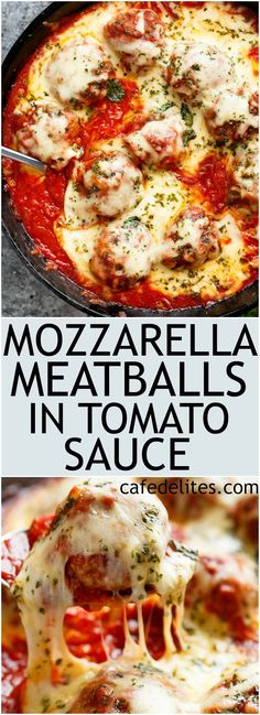 Low Unwanted Fat Cooking For Weightloss Mozzarella Meatballs In Tomato Sauce Are Juicy And Soft Meatballs, Simmered In A Homemade Tomato Sauce And Topped With Melted Mozzarella Meatball Sauce, Meatball Recipes, Beef Recipes, Cooking Recipes, Healthy Recipes, Batch Cooking, Healthy Eats, Chicken Recipes, Beef Dishes