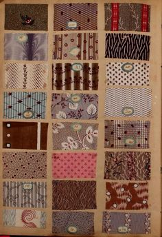 Échantillons Published 1845 Topics Textile fabrics -- France -- 19th century, Sample books Mounted illustrations are samples of fabric, including wools and velours Publisher [n.p.] Year 1845 Pages 100 Language French