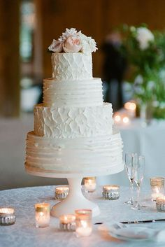 White Buttercream Wedding Cakes / http://www.himisspuff.com/200-most-beautiful-wedding-cakes-for-your-wedding/15/