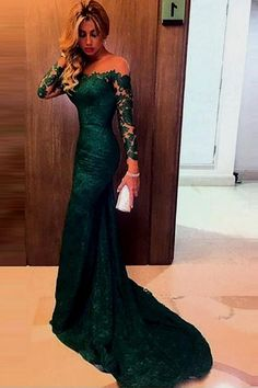 2c55939443 Charming Off-the-shoulder Dark Green Mermaid Lace Prom Dress with Long  Sleeves