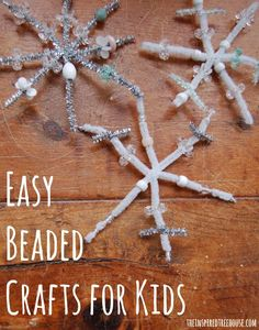 Snowflake Crafts - Easy Beaded Snowflakes - The Inspired Treehouse Fine motor activities for kids can be easy and fun! This winter themed beaded snowflake will be as unique and beautiful as the child who creates it! Fine Motor Activities For Kids, Eyfs Activities, Fun Winter Activities, Christmas Activities For Kids, Winter Crafts For Kids, Preschool Christmas, Winter Fun, Winter Theme, Frozen Activities
