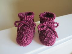 Baby Booties Crocheted Newborn Sizing Deep Plum Color by TooCozy