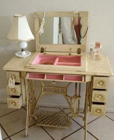 Dressing table vanity from repurposed sewing machine cabinet; Upcycle, Recycle, Salvage, diy, thrift, flea, repurpose, refashion! For vintage ideas and goods shop at Estate ReSale & ReDesign, Bonita Springs, FL