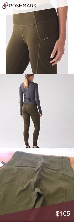 34bc07d651b42 NWT Lululemon First Mile Tech Tight Name  First Mile Tech Tight Size  4  Color  Military Green Condition  New with tags lululemon athletica Pants  Leggings