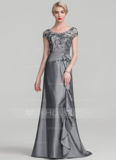 A-Line/Princess Scoop Neck Sweep Train Beading Flower(s) Sequins Cascading Ruffles Zipper Up Sleeves Short Sleeves No Other Colors General Plus Taffeta Sequined Height:5.7ft Bust:33in Waist:24in Hips:34in US 2 / UK 6 / EU 32 Mother of the Bride Dress