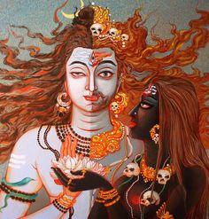 Lord Shiva, Lord Bhaerava and Goddess Kaali Shiva Art, Shiva Shakti, Hindu Art, Kali Shiva, Aghori Shiva, Mother Kali, Kali Mata, Shri Hanuman, Shiva Tattoo