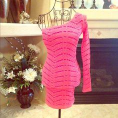 Bebe One Shoulder Pink Lace Dress Bebe One Shoulder Pink Lace Dress with lining, very stretchy, bodycon look, shows off your figure. 92% nylon 8% spandex bebe Dresses