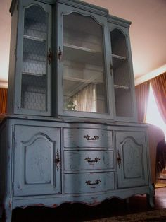 distressed french country hutch