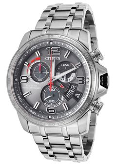 Citizen Men's Silver-Tone SS Chrono Grey Dial - Watch BY0100-51H,    #Citizen,    #BY010051H,    #WatchesDiverQuartz