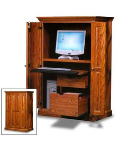 an amish crafted computer armoire pictured in regular oak this computer armoire is also available in cherry or quartersawn oak