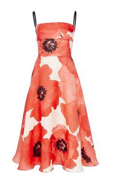 Oversized Floral Gazar Full Skirt Dress by Lela Rose for Preorder on Moda Operandi