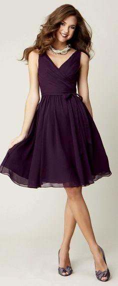 $99.69-Knee-Length Sleeveless Criss-Cross V-Neck Chiffon Purple Short Bridesmaid Dress.  http://www.ucenterdress.com/knee-length-sleeveless-criss-cross-v-neck-chiffon-bridesmaid-dress-with-bow-pMK_100044.html.  Shop for long dresses, designer dresses, casual dresses, occasion dresses, backless dresses, elegant dresses, black tie dresses. We have great 2016 bridesmaid dress for sale. Available in Gold, Yellow, Pink, Lavender Burgundy, Peach…#UCenterDress.com #bridesmaiddress