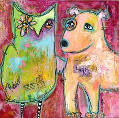 You've Got A Friend In Me - by Jacqui Fehl mixed media on wood