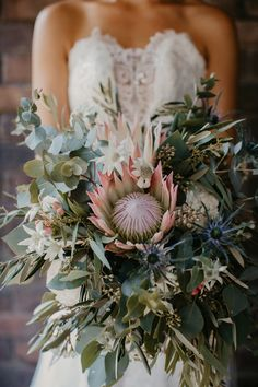 Amazing Australian Native Wedding Bouquets - Page 10 of 24 - Polka Dot Bride flowers native Amazing Australian Native Wedding Bouquets Protea Wedding, Flower Bouquet Wedding, Floral Wedding, Fresh Flower Bouquet, Non Flower Bouquets, Protea Bouquet, Purple Bouquets, Rustic Wedding Flowers, Green Wedding