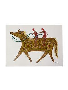 Horse Rider Bhil Painting By Shanta Bhuriya X Indian Folk Art, Tribal Art, Mythology, Moose Art, Sculptures, Paintings, Horses, Ink, Drawings