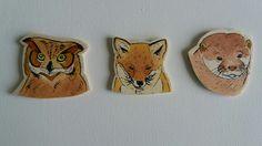 #woodlandanimalmagnets #ottermagnet #owlmagnet #foxmagnet #handpaintedmagnet