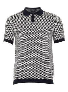 Navy Short Sleeve Diamond Polo Shirt - Men's Polo Shirts  - Clothing